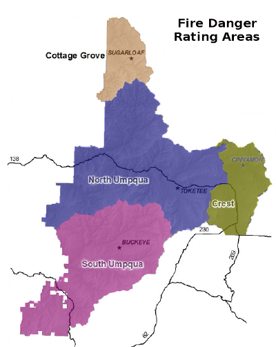 Map of Fire Danger Rating Areas